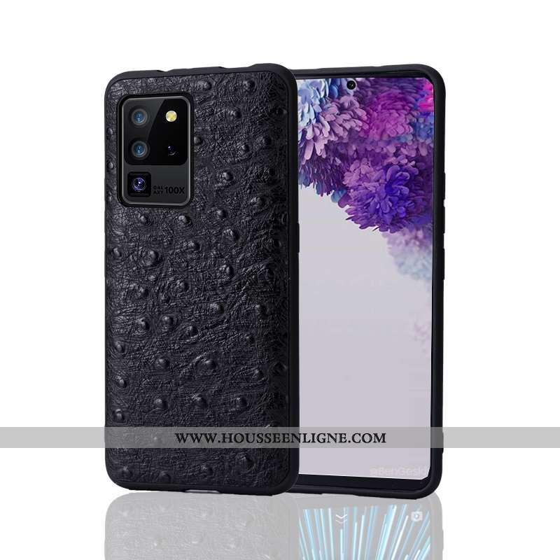 Coque Samsung Galaxy S20 Ultra Ultra Tendance Créatif Téléphone Portable Bovins Business Cuir Noir