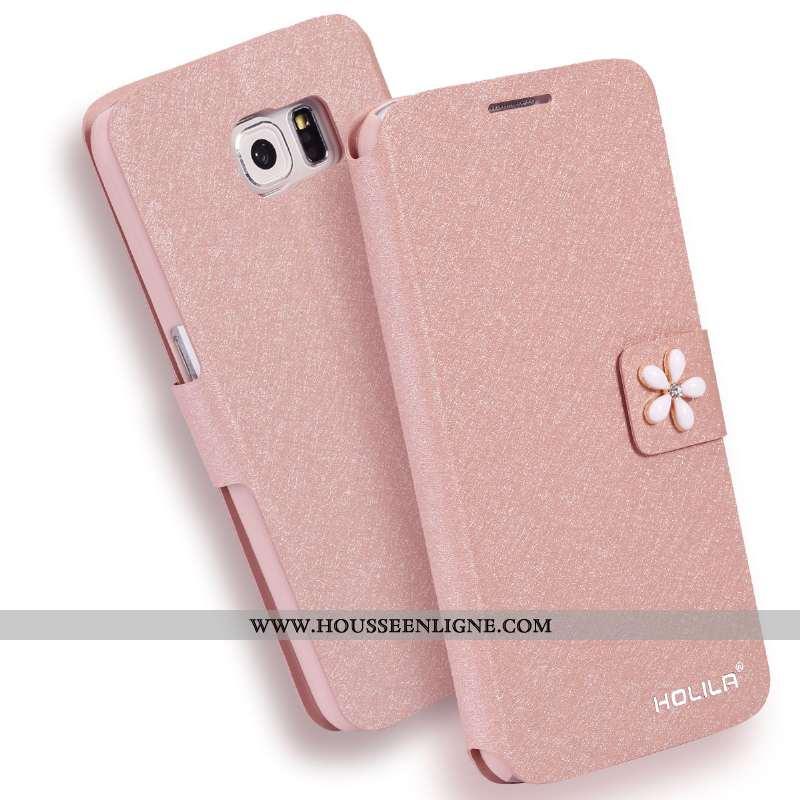 Coque Samsung Galaxy S6 Cuir Tendance Nouveau Étoile Téléphone Portable Rose Housse