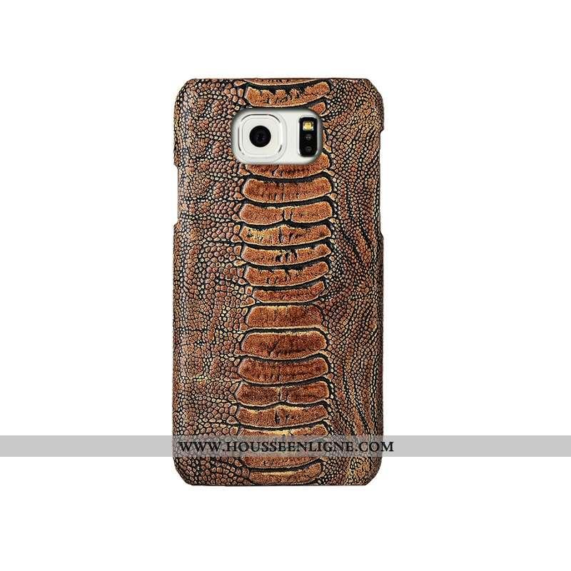 Coque Samsung Galaxy S6 Cuir Véritable Mode Incassable Couvercle Arrière Étui Créatif Téléphone Port