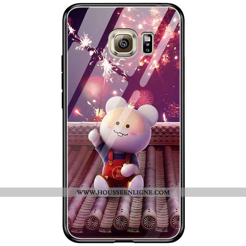 Coque Samsung Galaxy S6 Edge Dessin Animé Tendance Protection Violet Nouveau Amoureux