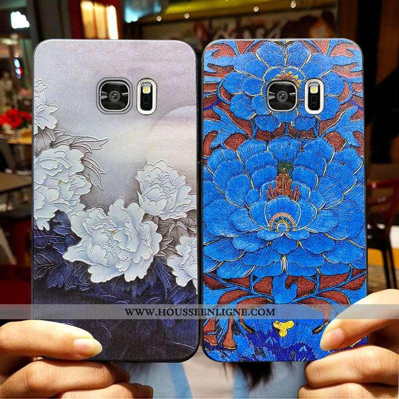 Coque Samsung Galaxy S6 Edge Protection Délavé En Daim Téléphone Portable Fluide Doux Silicone Tout