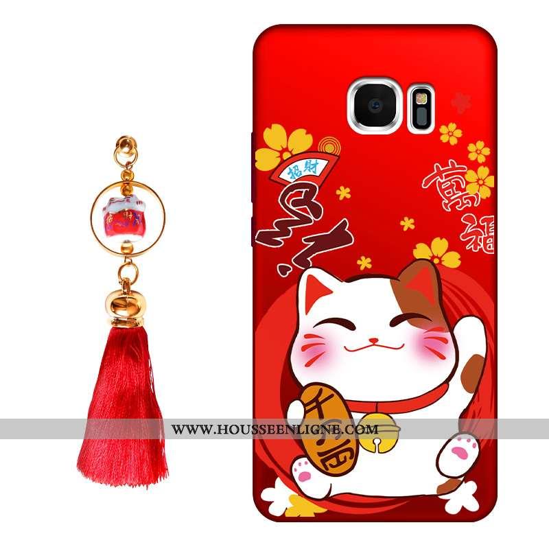 Coque Samsung Galaxy S6 Edge Protection Délavé En Daim Tendance Incassable Rouge Fluide Doux Étoile