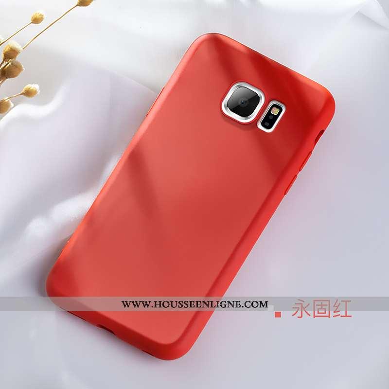 Coque Samsung Galaxy S6 Edge Silicone Protection Tendance Simple Légère Téléphone Portable Rouge
