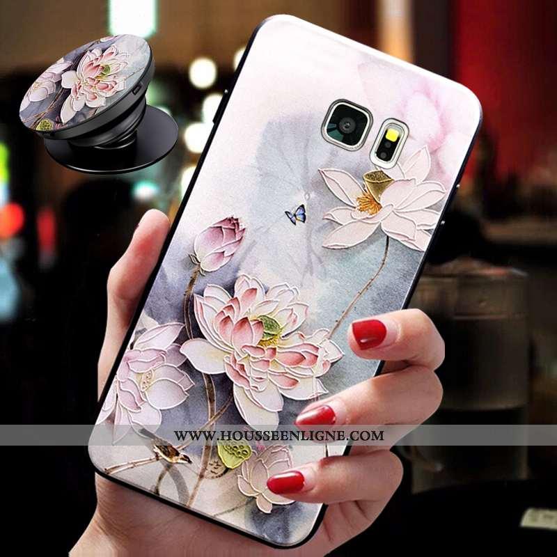 Coque Samsung Galaxy S6 Légère Fluide Doux Cou Suspendu Ultra Protection Support Rose