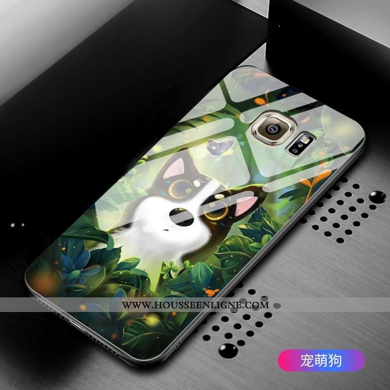 Coque Samsung Galaxy S6 Verre Dessin Animé Étui Tout Compris Incassable Étoile Verte