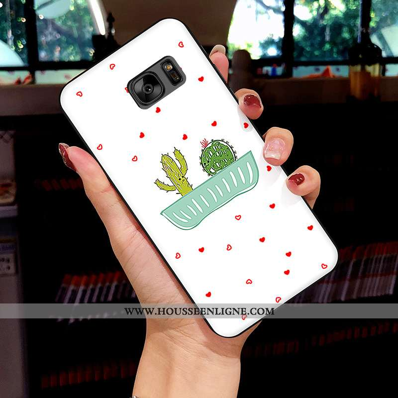 Coque Samsung Galaxy S7 Dessin Animé Fluide Doux Frais Protection Blanc Silicone Net Rouge Blanche