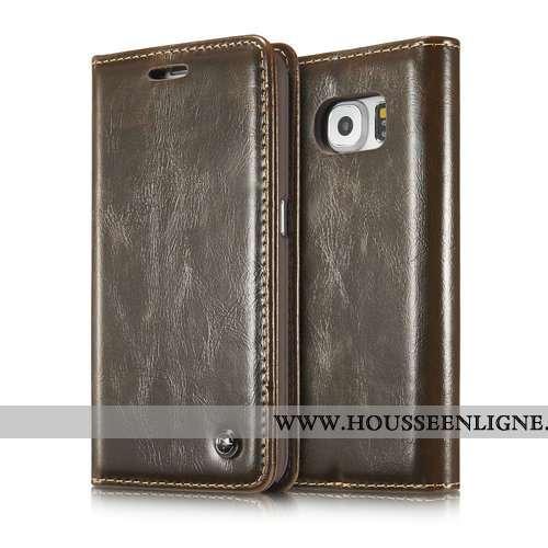 Coque Samsung Galaxy S7 Edge Mode Protection Marron Nouveau Téléphone Portable Étui Cuir