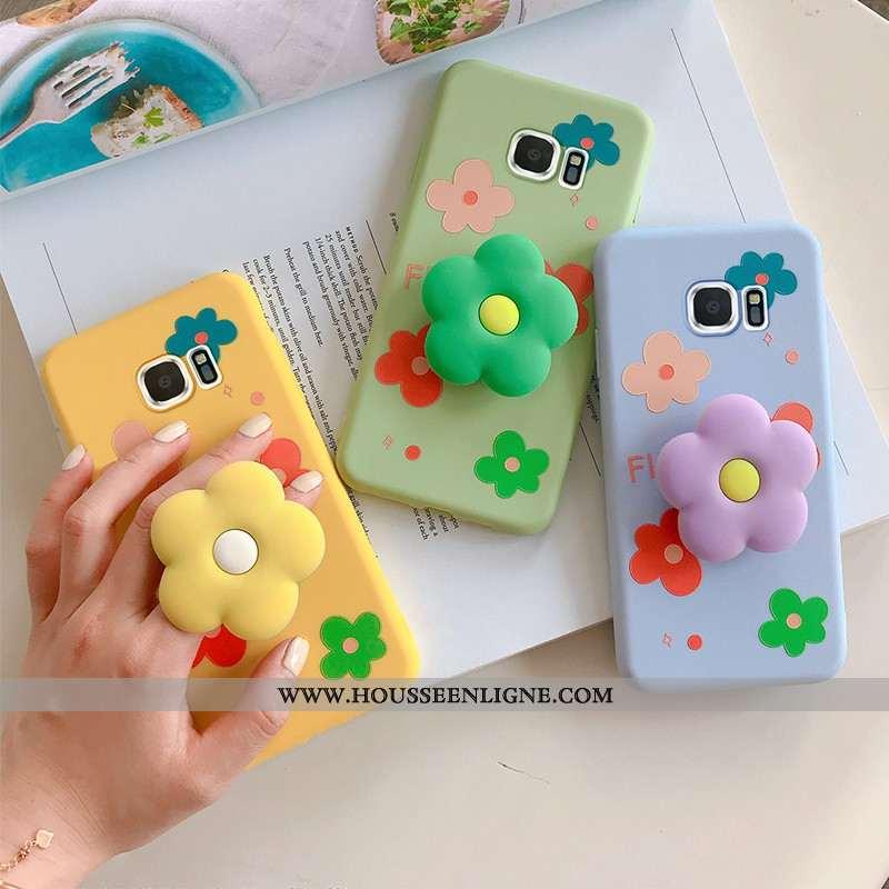 Coque Samsung Galaxy S7 Edge Personnalité Dessin Animé Fleur Incassable Téléphone Portable Vert Vert