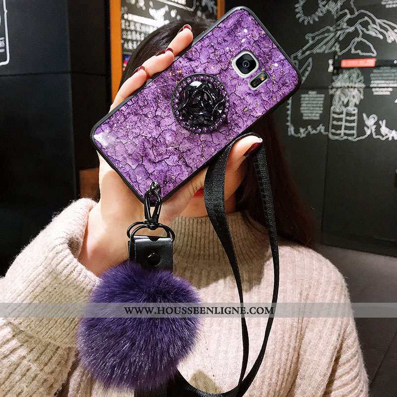 Coque Samsung Galaxy S7 Edge Protection Tendance Violet Étui Silicone Fluide Doux