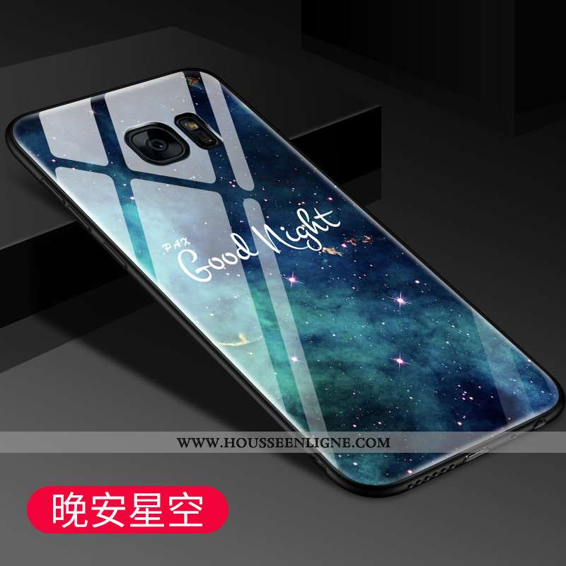 Coque Samsung Galaxy S7 Edge Protection Verre Tout Compris Tendance Miroir Bleu