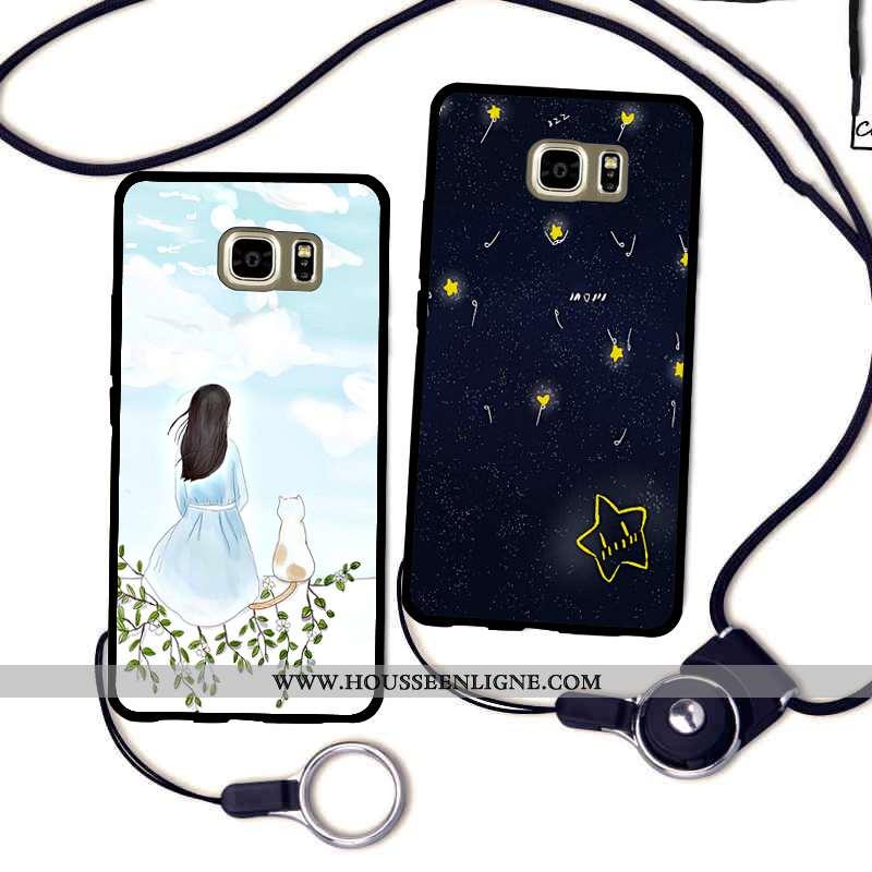 Coque Samsung Galaxy S7 Edge Silicone Protection Fluide Doux Étui Incassable Étoile Rouge Noir