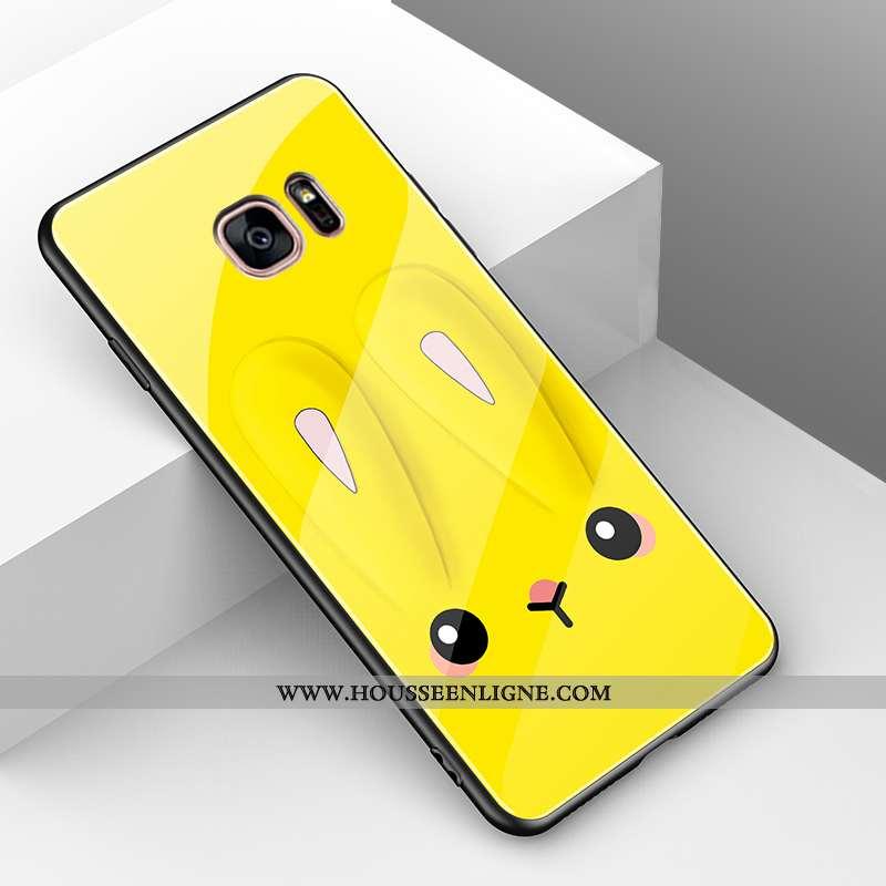 Coque Samsung Galaxy S7 Légère Fluide Doux Protection Lapin Simple Incassable Verre Jaune