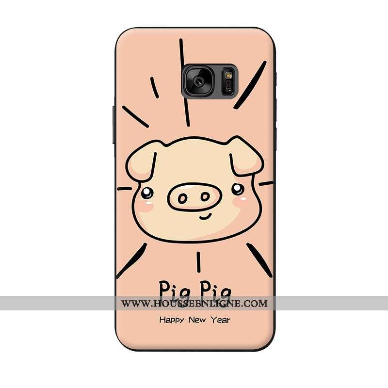 Coque Samsung Galaxy S7 Ornements Suspendus Fluide Doux Rose Animal Téléphone Portable
