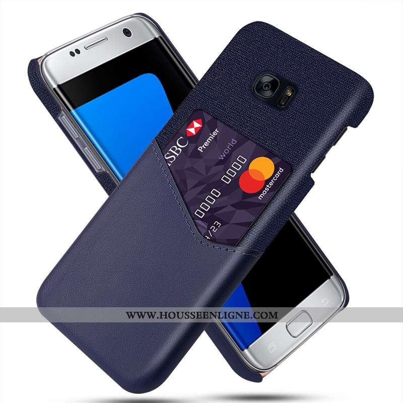 Coque Samsung Galaxy S7 Protection Cuir Modèle Fleurie Tissu Carte Bleu Marin Bleu Foncé