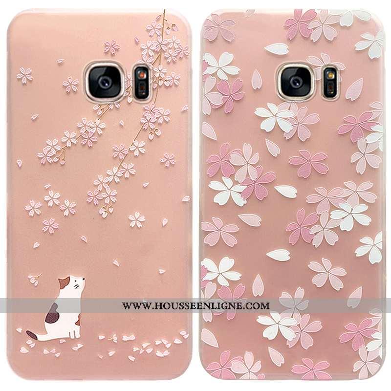 Coque Samsung Galaxy S7 Silicone Protection Net Rouge Nouveau Rose Créatif Étui