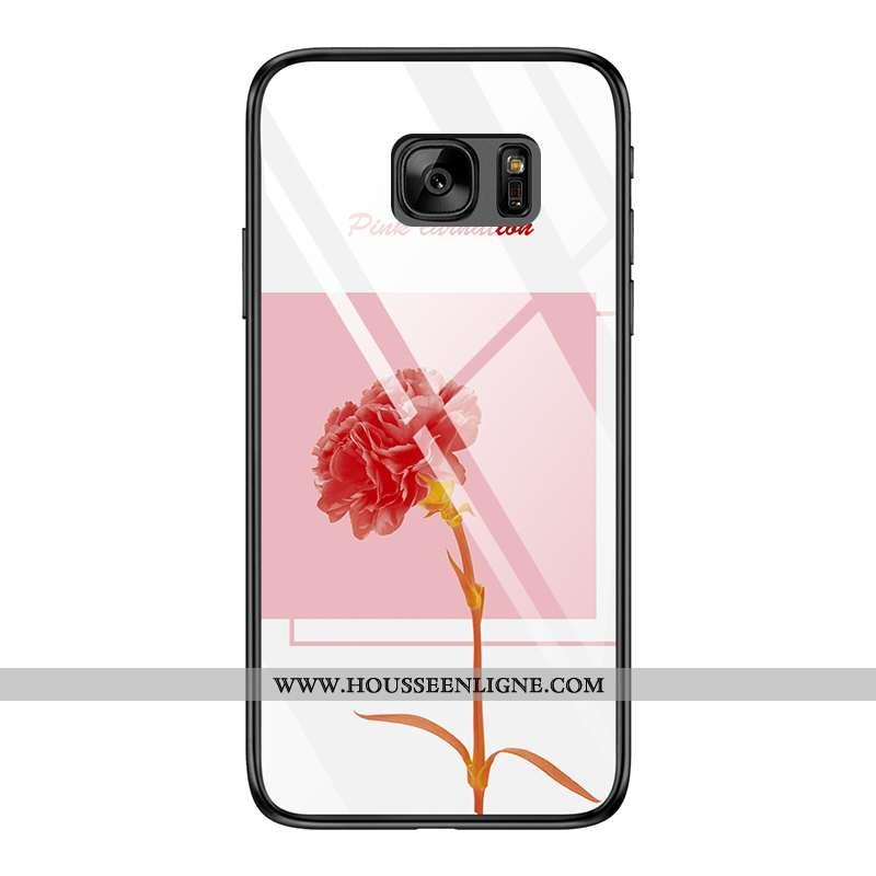 Coque Samsung Galaxy S7 Verre Fluide Doux Étoile Rose Silicone Étui