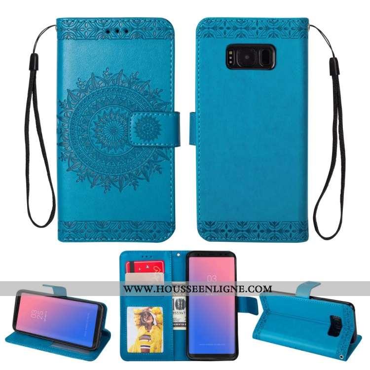 Coque Samsung Galaxy S8 Cuir Fluide Doux Étui Téléphone Portable Protection Tout Compris Étoile Bleu
