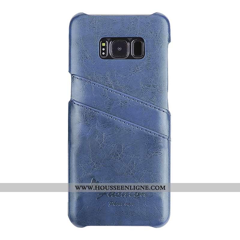 Coque Samsung Galaxy S8+ Cuir Fluide Doux Tendance Bleu Légère Protection Vent