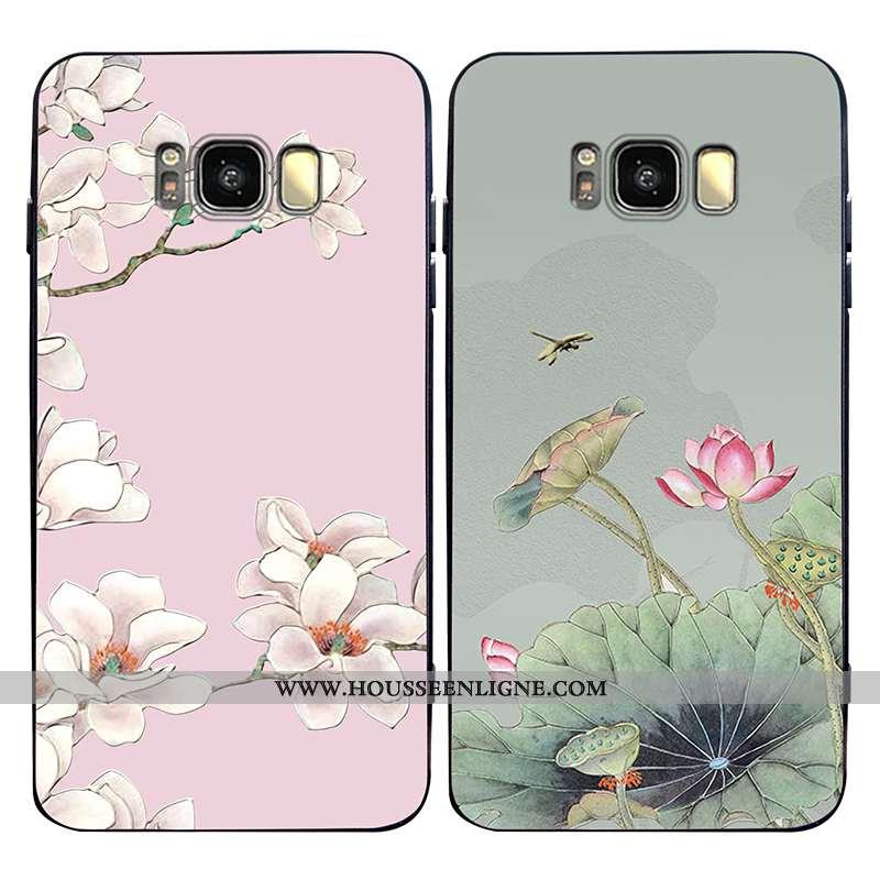 Coque Samsung Galaxy S8+ Délavé En Daim Ornements Suspendus Personnalité Légère Étui Anneau Rose