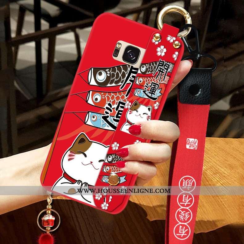 Coque Samsung Galaxy S8+ Fluide Doux Silicone Rouge Ornements Suspendus Nouveau Téléphone Portable