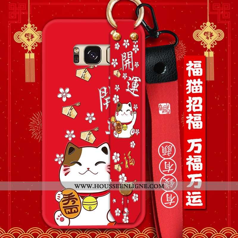 Coque Samsung Galaxy S8 Silicone Protection Ornements Suspendus Tendance Téléphone Portable Rouge Fl
