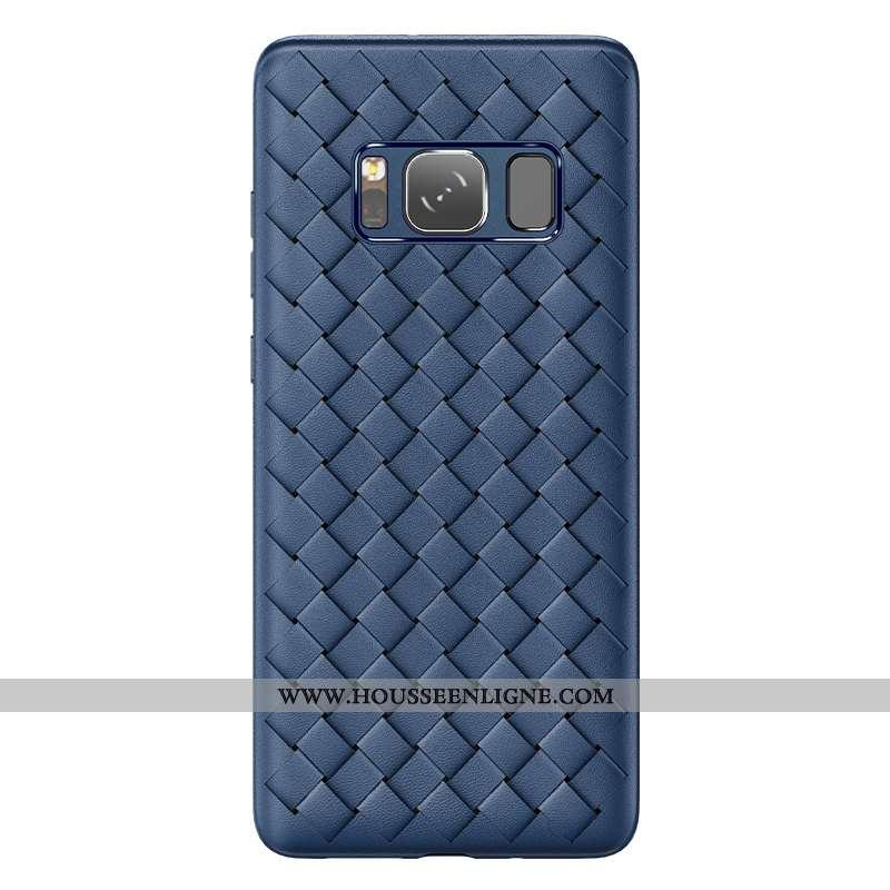 Coque Samsung Galaxy S8 Silicone Protection Tendance Étui Refroidissement Bleu Marin Tissage Bleu Fo