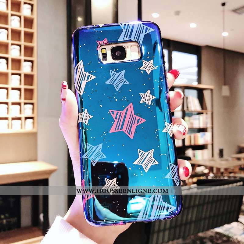 Coque Samsung Galaxy S8+ Tendance Fluide Doux Téléphone Portable Bleu Étui Amoureux