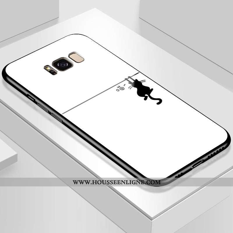 Coque Samsung Galaxy S8+ Verre Personnalité Blanc Fluide Doux Difficile Tout Compris Blanche