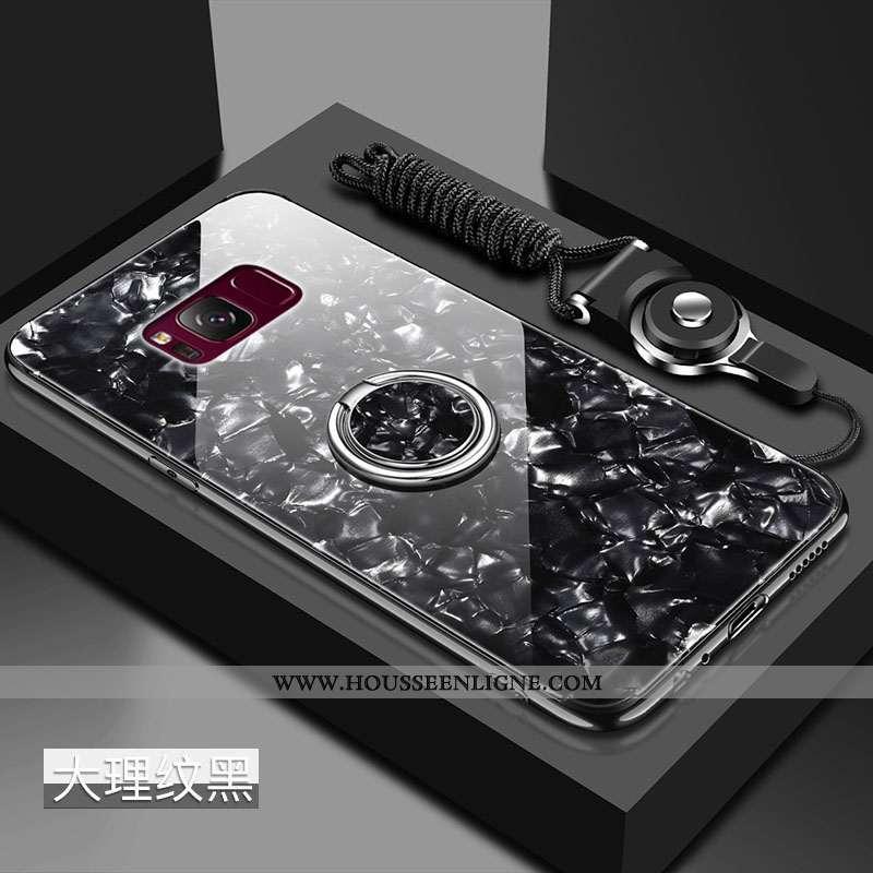 Coque Samsung Galaxy S8+ Verre Tendance Étoile Noir Protection Difficile