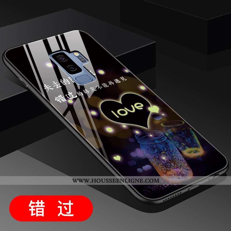 Coque Samsung Galaxy S9+ Créatif Verre Noir Téléphone Portable Étoile Net Rouge