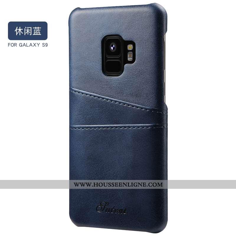 Coque Samsung Galaxy S9 Cuir Fluide Doux Téléphone Portable Vent Bleu Luxe