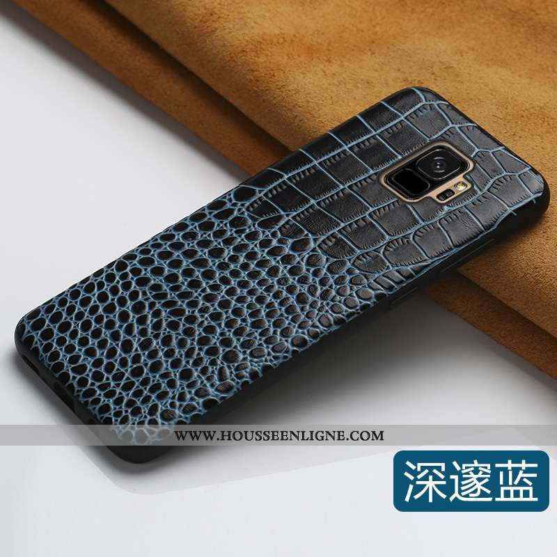 Coque Samsung Galaxy S9 Cuir Personnalité Bovins Luxe Tout Compris Créatif Véritable Bleu