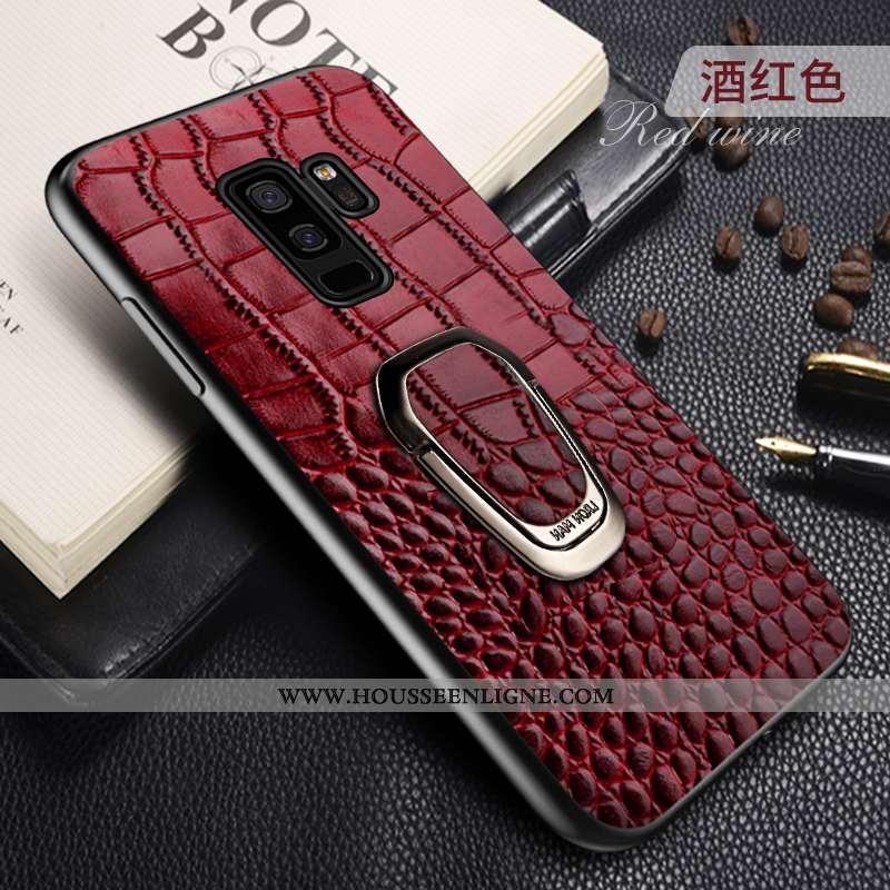 Coque Samsung Galaxy S9+ Cuir Véritable Cuir Magnétisme Rouge Anneau Support