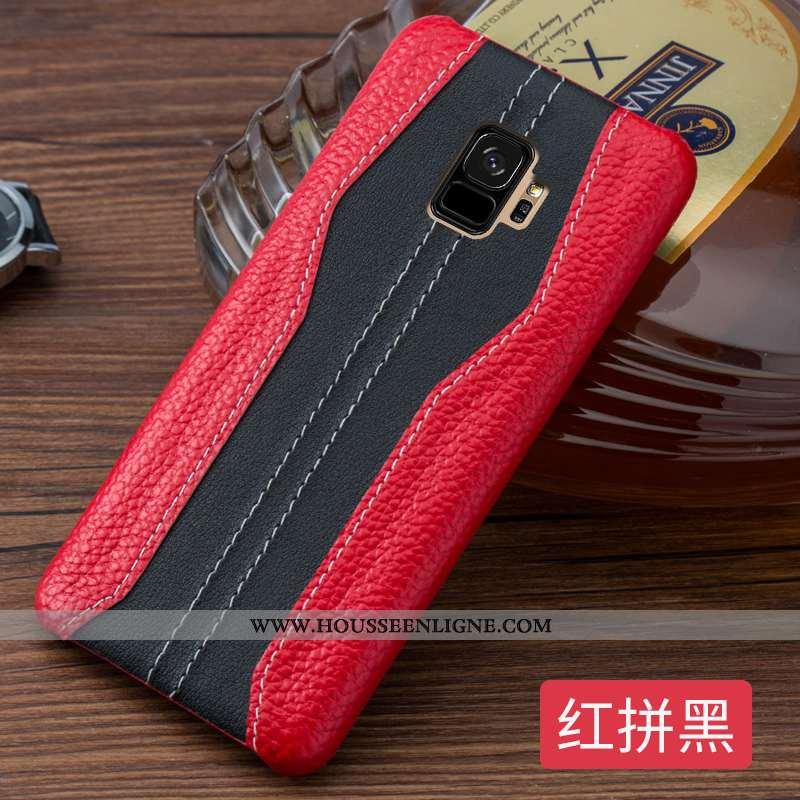 Coque Samsung Galaxy S9 Cuir Véritable Ultra Créatif Incassable Luxe Cuir Business Rouge