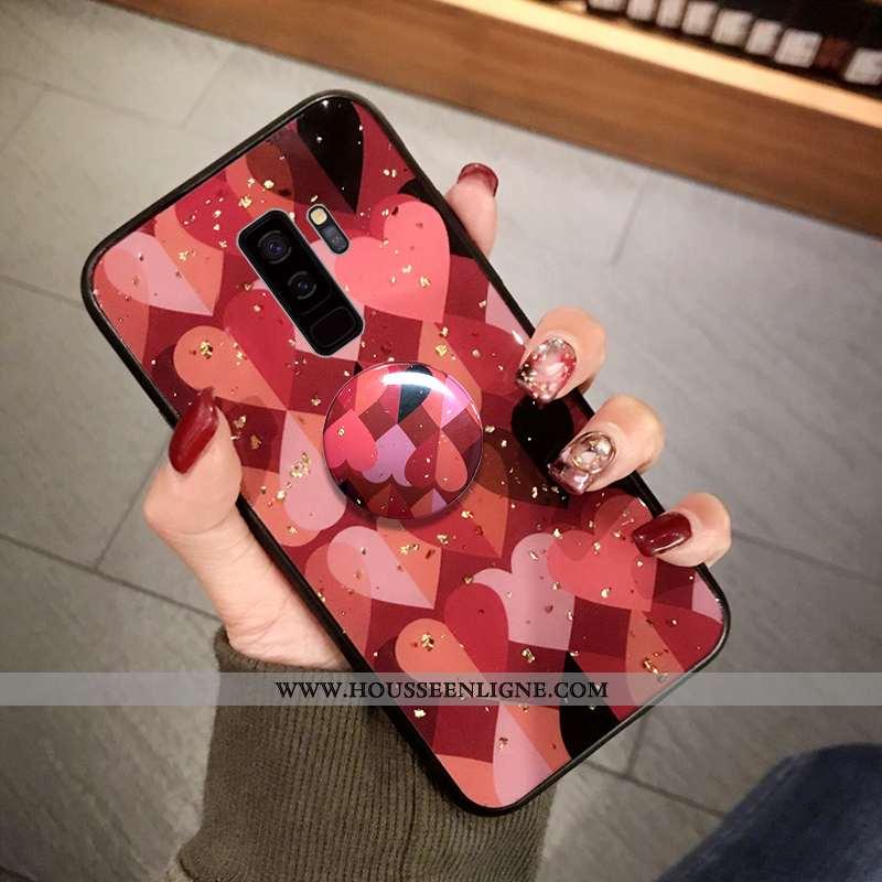 Coque Samsung Galaxy S9+ Fluide Doux Protection Point D'onde Rouge Téléphone Portable Grand