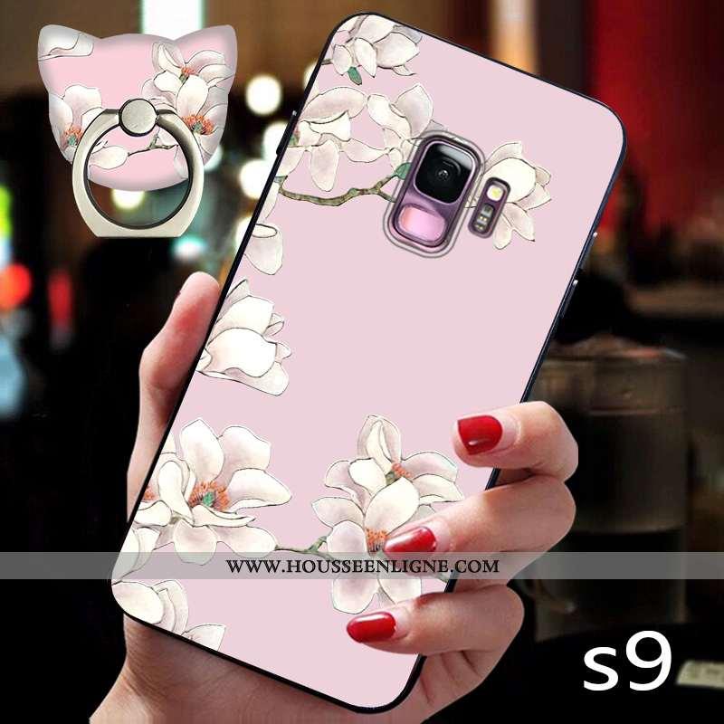 Coque Samsung Galaxy S9 Fluide Doux Silicone Étui Étoile Protection Légère Téléphone Portable Rose