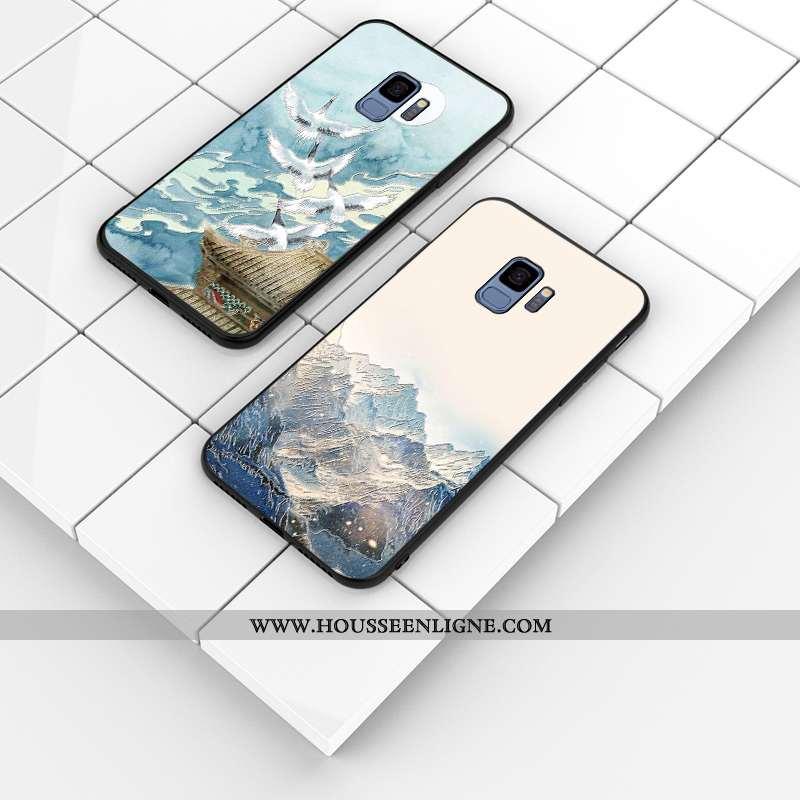 Coque Samsung Galaxy S9 Fluide Doux Silicone Gaufrage Incassable Motif Étui Bleu