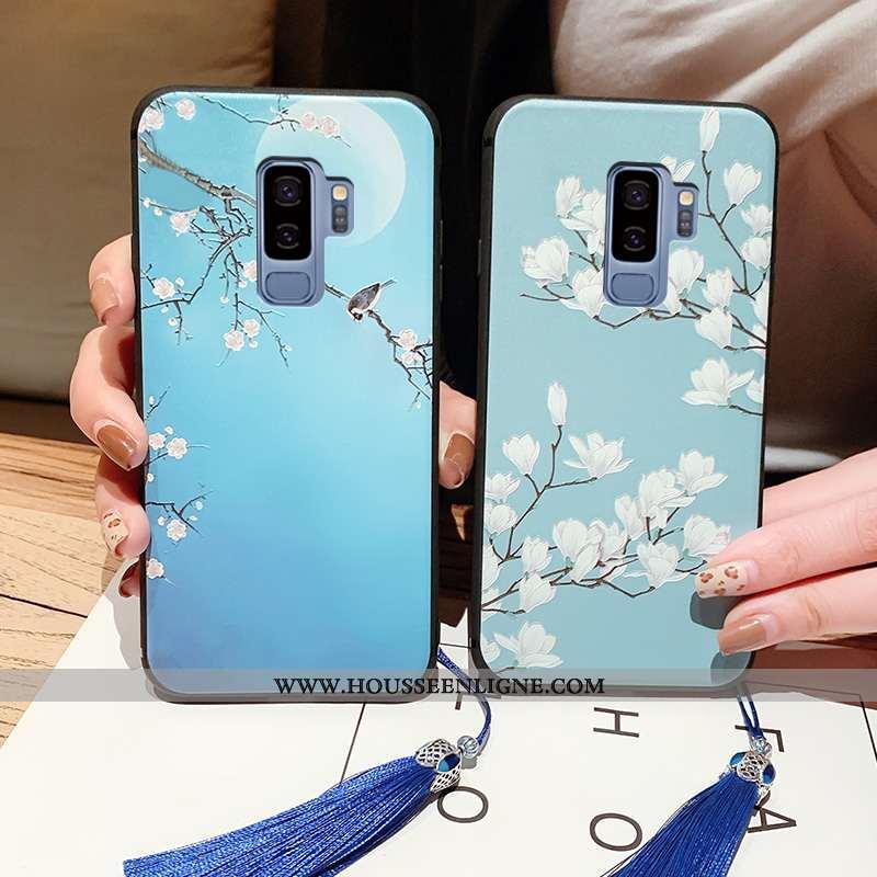 Coque Samsung Galaxy S9+ Fluide Doux Silicone Téléphone Portable Bleu Incassable Étui