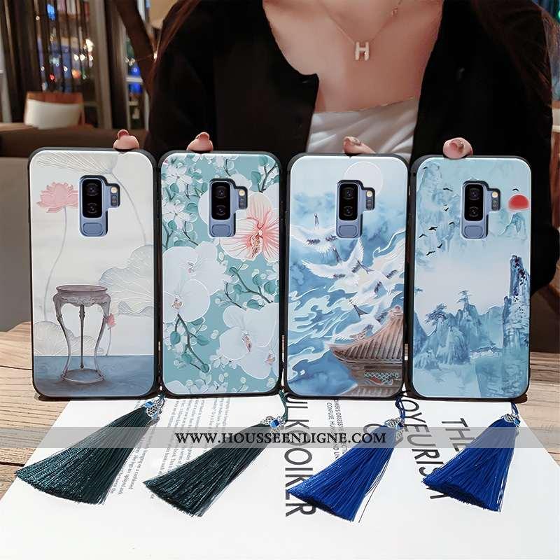 Coque Samsung Galaxy S9+ Fluide Doux Silicone Vent Légère Ultra Protection Gaufrage Bleu