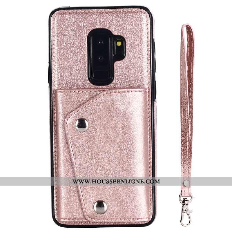 Coque Samsung Galaxy S9+ Ornements Suspendus Portefeuille Étui Cuir Carte Tout Compris Rose