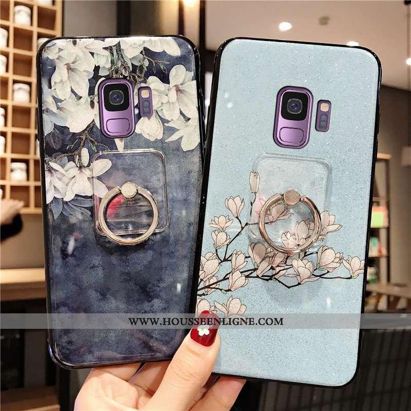 Coque Samsung Galaxy S9 Silicone Fluide Doux Anneau Luxe Téléphone Portable Style Chinois Bleu