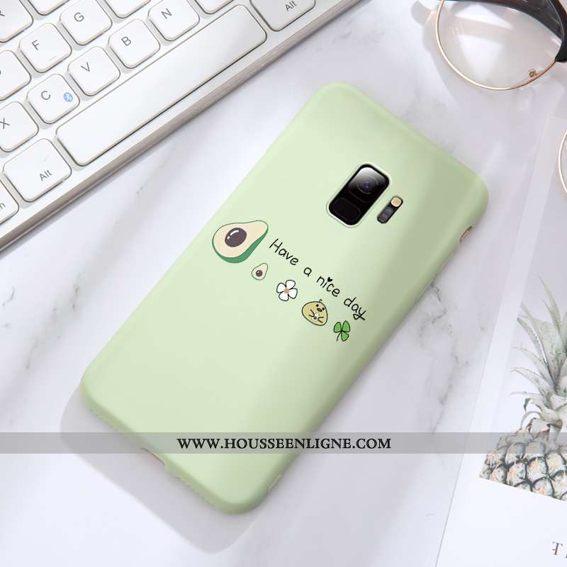 Coque Samsung Galaxy S9 Tendance Fluide Doux Tout Compris Créatif Fraise Bovins Net Rouge Verte