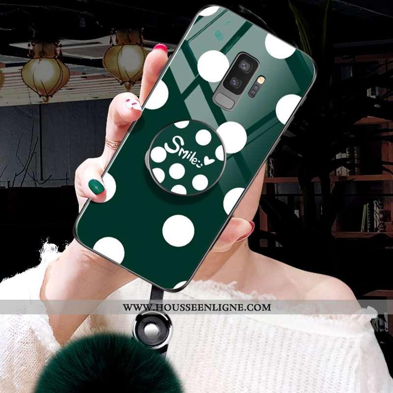 Coque Samsung Galaxy S9+ Vintage Verre Peluche Vert Nouveau Étui Verte