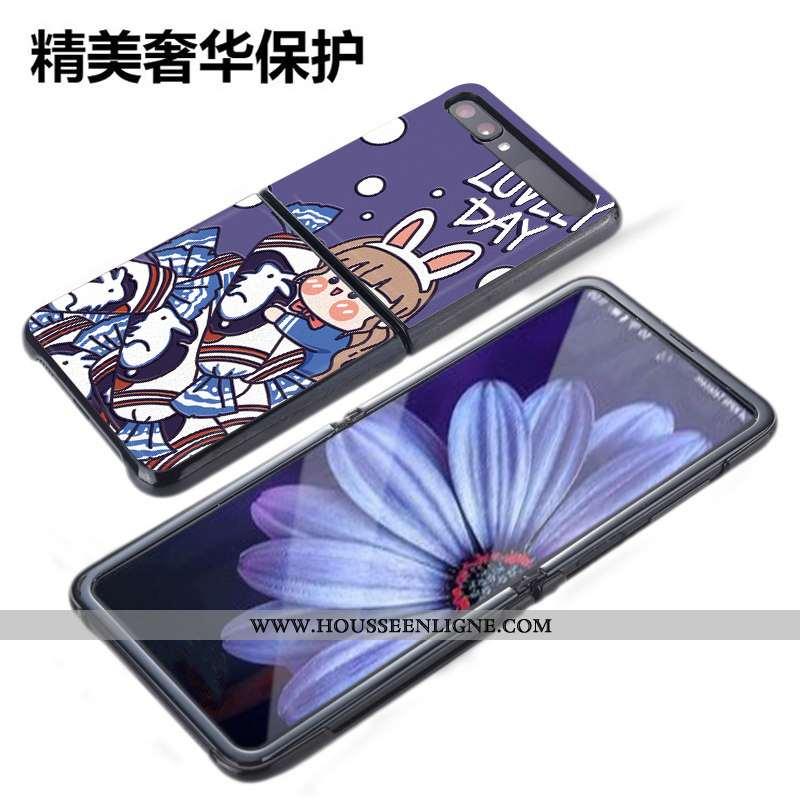 Coque Samsung Z Flip Cuir Modèle Fleurie Gaufrage Arc En Ciel Charmant Plier Téléphone Portable Bleu