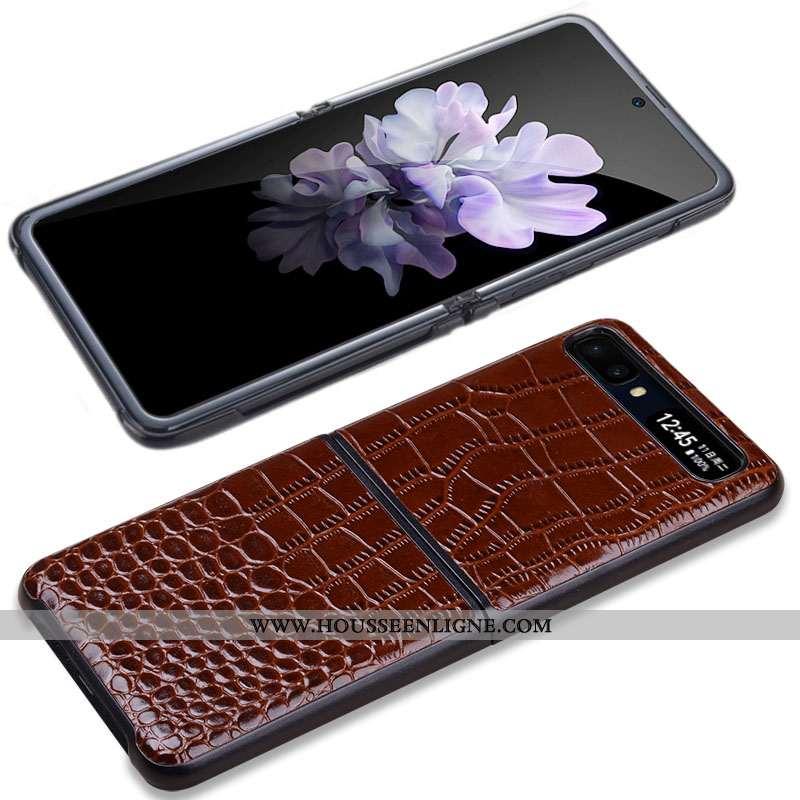 Coque Samsung Z Flip Cuir Véritable Portefeuille Protection Cuir Marron Divisé Incassable