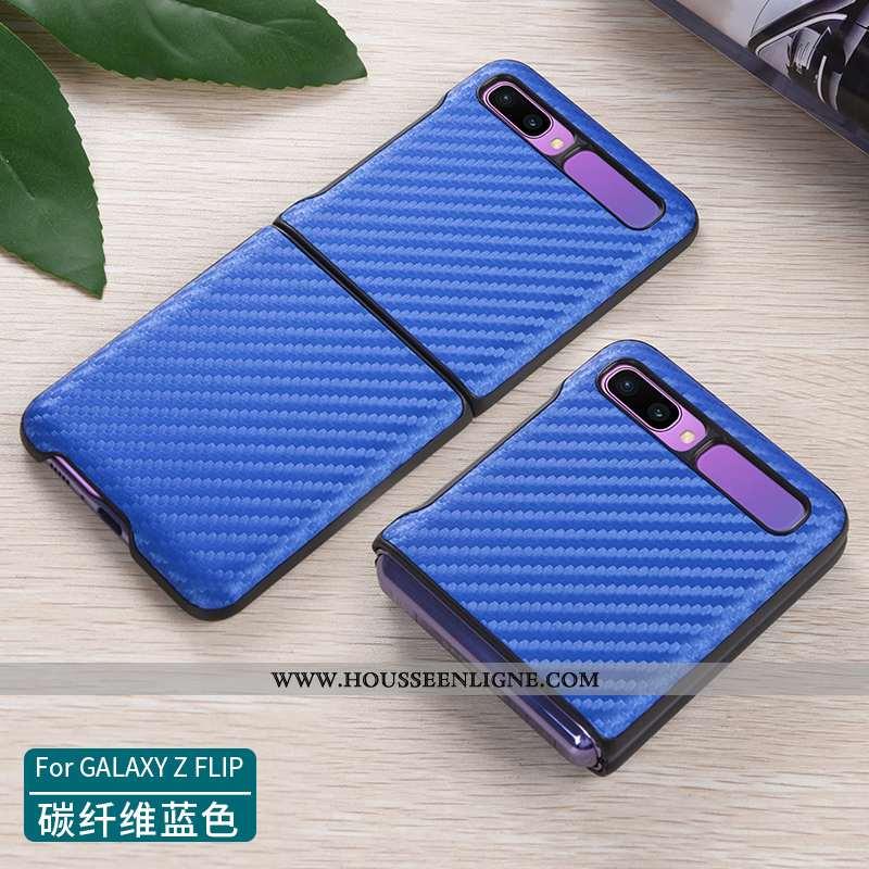 Coque Samsung Z Flip Cuir Véritable Ultra Légère Étui Tout Compris Téléphone Portable Bleu