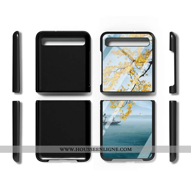 Coque Samsung Z Flip Personnalité Protection Nouveau Amoureux Incassable Étui Verre Bleu