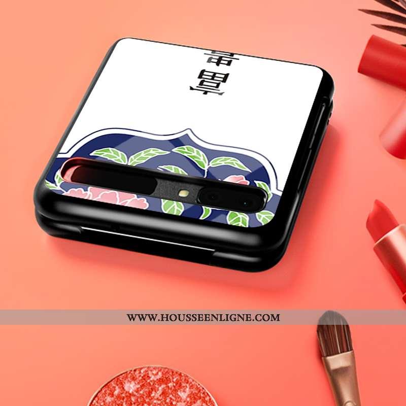 Coque Samsung Z Flip Protection Verre Silicone Difficile Téléphone Portable Étoile Personnalisé Blan