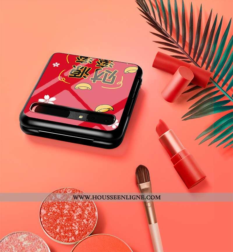 Coque Samsung Z Flip Verre Fluide Doux Personnalisé Étoile Plier Incassable Nouveau Rouge