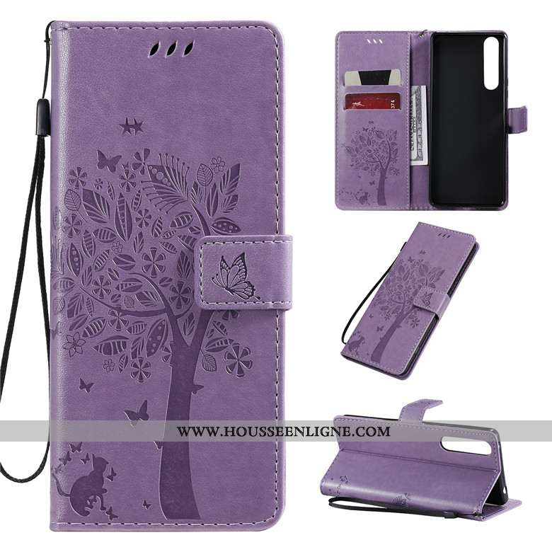 Coque Sony Xperia 1 Ii Fluide Doux Silicone Clamshell Incassable Protection Cuir Violet